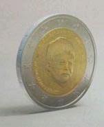 ??  ?? Het gezicht van Liam op een muntstuk van 2 euro.