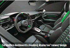 ??  ?? Carbonfibre dashboard is standard, display has 'runway' design