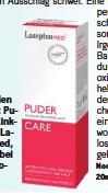 ??  ?? Lindert den Juckreiz: Puder mit Zinkoxid von LaseptonMed, 13.55 Fr. bei Shop-apotheke.ch
