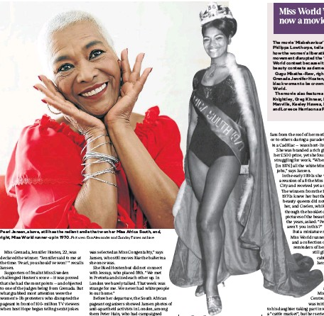 ?? Pictures: Esa Alexander and Sunday Times archive ?? Pearl Jansen, above, still has the radiant smile that won her Miss Africa South, and, right, Miss World runner-up in 1970.