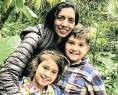 ??  ?? Durban-born Nishala Hird with son Euan and daughter Zara.