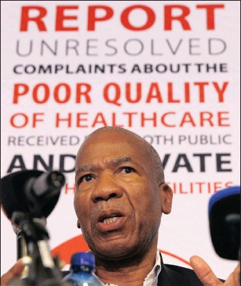 ??  ?? Professor Malegapuru Makgoba speaks at a press conference earlier this week on the deaths of mentally ill patients in Gauteng.