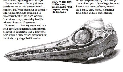 ??  ?? BELOW:Her first ichthyosaur, excavated in 1812, inspired many illustrations