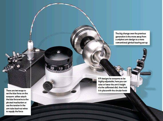 ??  ?? There are two ways to set the bias force on the tonearm: either attach the bias force wire to the pivoted mechanism or use the tension in the arm tube lead-out wires to supply the force The big change over the previous generation is the move away from a unipivot arm design to a more conventional gimbal bearing set-up VPI designs its tonearms to be highly adjustable; here you can raise or lower the arm's height via the calibrated dial, then lock it in place with the circular knob