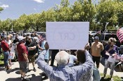?? ANDY BARRON AP ?? A man protests critical race rheory outside a Washoe County School District board meeting in Reno, Nev., on May 25. Local school boards nationwide are increasingly becoming cauldrons of anger and political division.