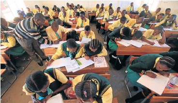 ?? /Jackie Clausen ?? Overcrowding: Opathe Primary School in rural KwaZulu-Natal has 84 pupils in its Grade 10 class. Impact investment in education ensures a mix of incentives and regulations that rewards high-quality education. Smaller classes are among the outcomes.