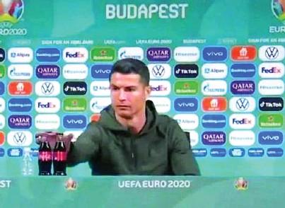 ?? AP ?? Cristiano Ronaldo, durante su comparecencia ante la prensa