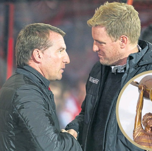 ??  ?? Eddie Howe with Brendan Rodgers and (inset) the statue of Billy Mcneill which now looms over every Celtic manager