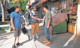 """?? PHOTOS PROVIDED BY MACALL POLAY/WARNER BROS. ?? Director Jon M. Chu, producer Miranda and star Ramos on the set of """"In the Heights."""""""