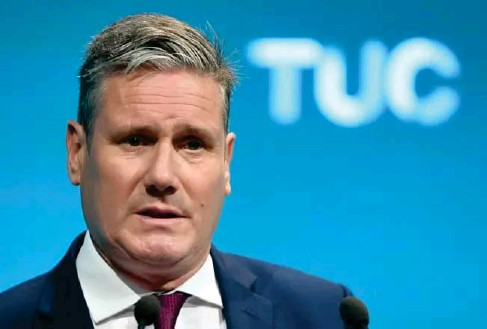 ?? (EPA) ?? The Labour l eader de l ivers his speech at the TUC conference yesterday