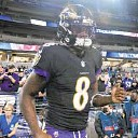 ?? KENNETH K. LAM/BALTIMORE SUN ?? Ravens quarterback Lamar Jackson takes the field before Monday night's game against the Indianapolis Colts at M&T Bank Stadium.