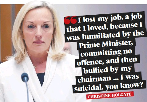 ??  ?? Christine Holgate told a Senate committee that she felt suicidal after being bullied out of her job.