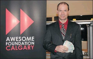 ?? Courtesy, Awesome Calgary ?? Tim Barber won $1,000 from the Awesome Calgary Foundation for his idea to employ the homeless.