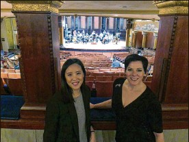 """?? ANDREW WELSH-HUGGINS / AP ?? Janet Chen, executive director of the ProMusica Orchestra (left) and Peggy Kriha Dye, general and artistic director for Opera Columbus, take a break during rehearsals for """"The Flood,"""" a first-ever collaboration between the groups."""