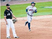 ?? CHARLES REX ARBOGAST/AP ?? Jose Altuve passes White Sox first baseman Jose Abreu after hitting a three-run homer during the Astros' seriesclinching victory Tuesday.