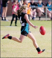 ??  ?? Ashlyn Willett once again delivered in the midfield and was undaunted many times tackling older girls twice her size un the under 14 match.