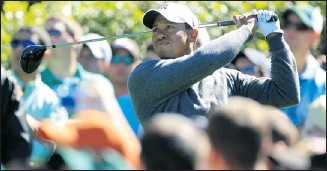 ?? David Cannon, getty images ?? Tiger Woods, practising this week at Augusta, won his last major at the 2008 U.S. Open.