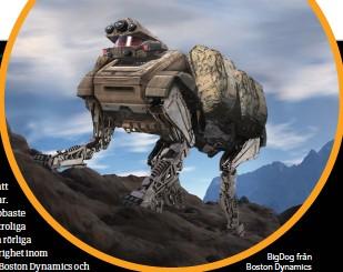 ??  ?? BigDog från Boston Dynamics är byggd för att kunna bära soldatutrustning i krävande terräng.