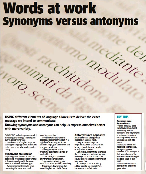 Pressreader Newsmail 2018 03 13 Words At Work Synonyms Versus