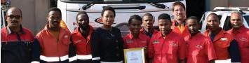 ??  ?? The Maziya supervisors and Mrs Vivien Khoza (on behalf of her husband Mr Isaac Khoza) proudly display the five-star grading certificate