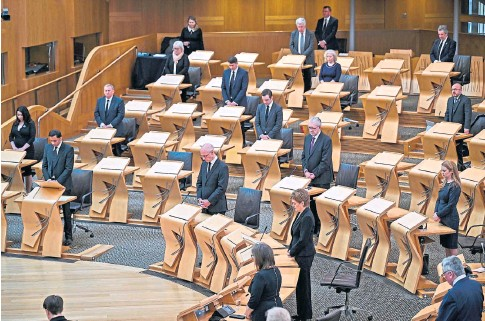 ??  ?? MARK OF RESPECT: Party leaders and politicians were recalled to Holyrood after the death of Prince Philip.
