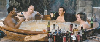 ??  ?? In Hot Tub Time Machine, four men (from left, Craig Robinson, Rob Corddry, John Cusack and Clark Duke) get transported back to the 1980s, a time when the three older guys spent wild weekends at a ski resort.