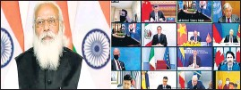 ??  ?? PM Narendra Modi during the Leaders' Summit on Climate via Video conferencing, in New Delhi .