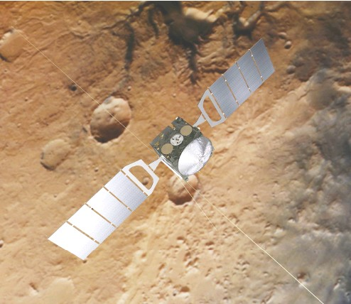 ?? AFP PHOTO / ESA/ATG medialab; Mars: ESA / DLR / FU Berlin / files ?? An artist's impression of the Mars Express spacecraft over a background based on an actual image of Mars taken by the spacecraft's high resolution stereo camera.