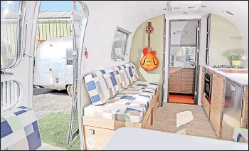 ?? — The Washington Post by Sandy Huffaker ?? An interior view of a refurbished Airstream camper at So Cal Vintage Trailer.