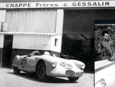 ??  ?? Left: mid-engined, 4Cv-based Bosvin-michel-spéciale outside the garage. Below: the Chappe team with A108 2+2, Gessalin second from right