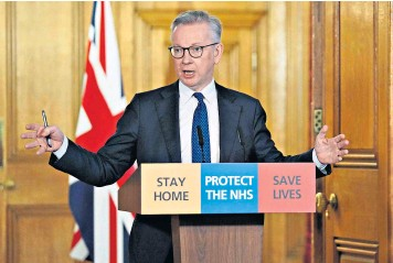 ??  ?? Michael Gove speaking during a remote press conference to update the nation