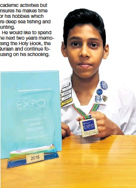 ??  ?? Mohammad Thaqwa Sabjee shows off his numerous accolades and achievements in science for 2018