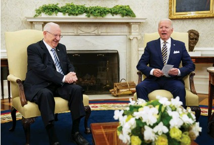 ?? (Kevin Lamarque/Reuters) ?? US PRESIDENT Joe Biden meets with Israel's President Reuven Rivlin at the White House on Monday.