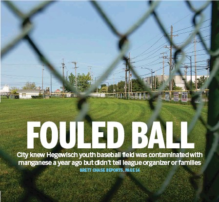 ?? PAT NABONG/SUN-TIMES ?? The EPA confirmed this summer that high levels of manganese are present in dirt on a section of Babe Ruth Field in Hegewisch.