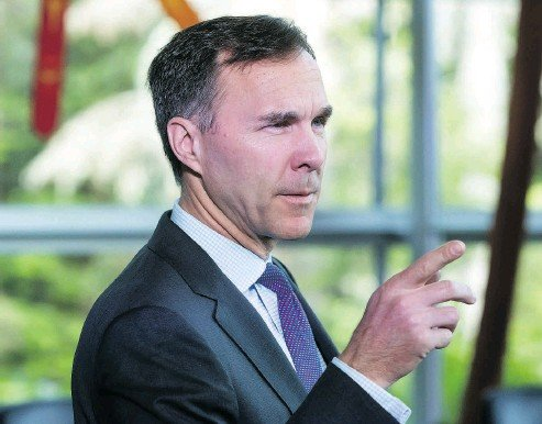 ?? DARRYL DYCK / BLOOMBERG ?? Finance Minister Bill Morneau speaks at the G7 finance ministers and central bank governors meeting in Whistler on Thursday. Tariffs on steel and aluminum by the U.S. is now top of mind for participants.