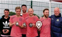 ??  ?? Party Car FC, from Adswood, receive the title of Stockport Football Community Champions