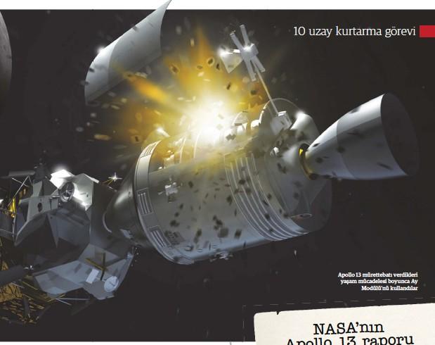 ??  ?? Apollo 13 mürettebatı verdikleri yaşam mücadelesi boyunca Ay Modülü'nü kullandılar