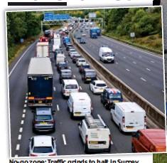 ??  ?? No-go zone: Traffic grinds to halt in Surrey