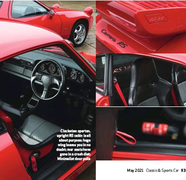 ??  ?? Clockwise: spartan, upright RS cabin is all about purpose; huge wing leaves you in no doubt; rear seats have gone in a crash diet; Minimalist door pulls