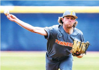 ?? AP PHOTO/BUTCH DILL ?? Tennessee pitcher Camden Sewell throws against Florida in the first inning of a Southeastern Conference tournament game on May 29 in Hoover, Ala.
