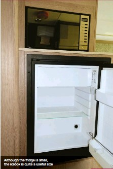 ??  ?? Although the fridge is small, the icebox is quite a useful size