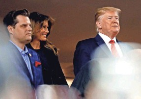 ?? GEOFF BURKE/USA TODAY SPORTS ?? President Donald Trump attended Game 5 of the World Series and did not receive a warm reception from fans in Washington.