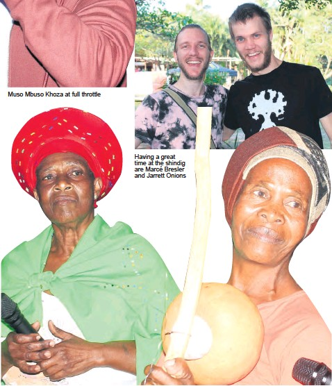 ??  ?? Muso Mbuso Khoza at full throttle Having a great time at the shindig are Marcé Bresler and Jarrett Onions Musician Bavikile Ngema (right) with actress Thandekile Ngema