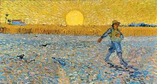??  ?? Vincent van Gogh «Il seminatore», (1888), Kröller-Müller Museum, Otterlo Sotto, la copertina del libro di Marco Goldin