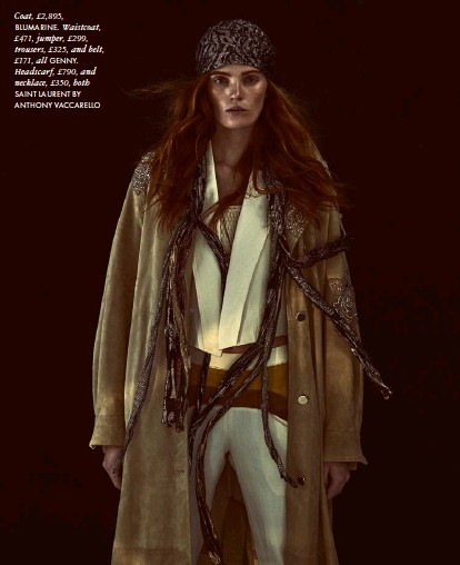??  ?? Coat, £2,895, BLUMARINE. Waistcoat, £471, jumper, £299, trousers, £325, and belt, £171, all GENNY. Headscarf, £790, and necklace, £350, both SAINT LAURENT BY ANTHONY VACCARELLO
