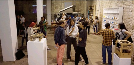 """??  ?? Young Cairenes gather for the opening of """"Out of Print,"""" now up at Townhouse Factory."""