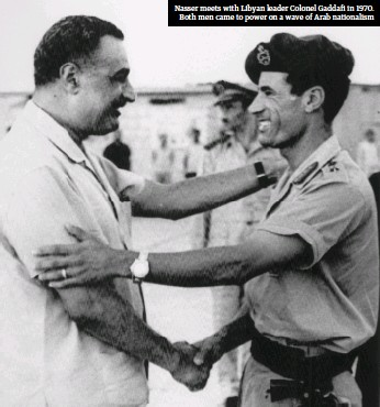 ??  ?? Nasser meets with Libyan leader Colonel Gaddafi in 1970. Both men came to power on a wave of Arab nationalism