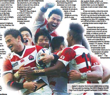 ??  ?? Japan's Ayumu Goromaru celebrates scoring the second try during the 2015 Rugby World Cup Pool B match against between South Africa.