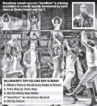 """??  ?? Broadway smash success """"Hamilton"""" is winning accolades in a world usually dominated by such stars as Drake (inset) and Jay Z."""