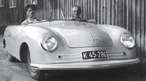 ??  ?? Below left: In 1948 the 356 project that began as a ʻVW sports' proudly bore the Porsche name. Its occupants showed how high the folding roof would need to be, clipped as it was to the centre post of the frameless windscreen